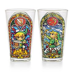 Have a drink with Link! Two different pieces of stained glass artwork from The Wind Waker on one 16-ounce pint glass. Perfect for a nice big glass of Lon Lon milk, or something stronger to replenish your hearts.