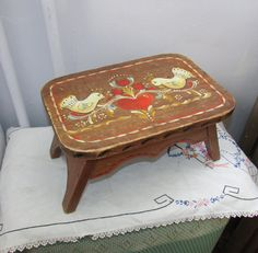 SALE Antique Painted Stool Vintage Primitive Folk Art by CorkSpork, $39.00