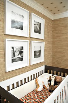 grasscloth walls + neutral palette + star wallpaper on the ceiling + babies room