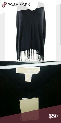 Michael Kors | NWT Black Poncho (S/M) New with tags Black Michael Kors Poncho with fringe and hi/lo tunic style cut. Drapes nicely with half arm holes. Size s/m. Retails $89.50. Michael Kors Sweaters Shrugs & Ponchos