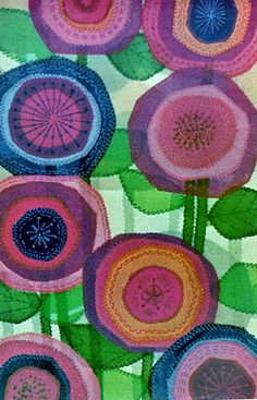 Applique Blooms I am obsessed with fabric art