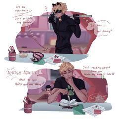 Chat Noir and the Diary - Miraculous - Miraculous Ladybug Kiss, Miraculous Ladybug Fanfiction, Miraculous Characters, Comics Ladybug, Meraculous Ladybug, Ladybug Cakes, Lady Bug, Marinette Et Adrien, Adrian And Marinette
