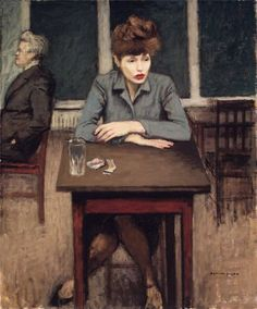 "the-paintrist: "" tierradentro: "" ""Café Scene"", Raphael Soyer. (via) "" Raphael Soyer (December 1899 – November was a Russian-born American painter, draftsman, and printmaker. Illustrations, Illustration Art, Tableaux Vivants, Edward Hopper, Edgar Degas, Oeuvre D'art, Figurative Art, Female Art, Painting & Drawing"