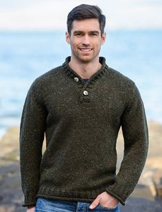 Made in Ireland from Donegal Tweed wool is our new Donegal Tweed 2 Button Sweater. This Donegal Tweed Sweater has a 2 button Closure at neck and is both smart and casual. Buy today from the Aran Sweater Market. Mens Shawl Collar Sweater, Mens Knit Sweater, Merino Wool Sweater, Half Zip Sweaters, Boys Sweaters, Irish Sweaters, Outfits Casual, Mode Outfits, Jumper Knitting Pattern