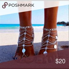 Ankle bracelet Foot jewelry for beach, will fit size 10 or 11 foot used once Jewelry