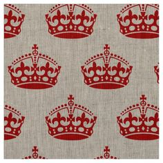 Keep Calm And Carry On Crown Pattern fabric from #Ricaso
