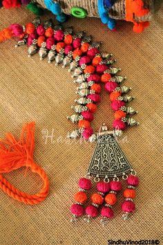 Diy Fabric Jewellery, Fabric Earrings, Fancy Jewellery, Thread Jewellery, Diy Jewelry Necklace, Tribal Jewelry, Silver Jewelry, Necklaces, Handmade Jewelry Designs