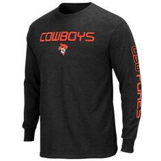 Majestic Oklahoma State Cowboys Classic Victory Long Sleeve T-Shirt - Charcoal - $12.99
