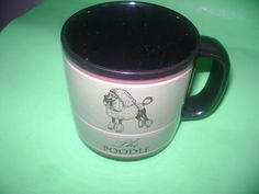 "Black Poodle Mug Cup Coffee Tea Russ 4"" High 16 ounces"