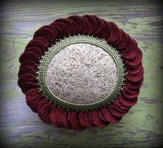 Crocheted Lace Flower Stone, Handmade, Art Object, Table Decoration, 3D, Unique Gift, Monicaj
