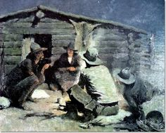 Image detail for -Frederic Remington - Last Painting Unfinished 1909 Painting