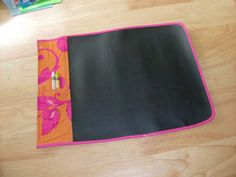 Fabric Chalkboard Tutorial (crayons were used just to show where to put the chalk)