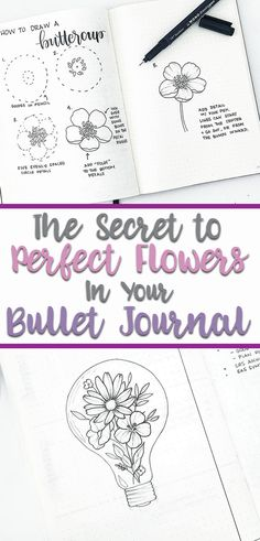 How to draw beautiful flower doodles in your bullet journal! These easy flower drawing tutorials will have you doodling flower patterns all over your bujo. flowers How to Draw Easy Flower Doodles for Bullet Journal Spreads Bullet Journal Spreads, Bullet Journal Layout, Bullet Journal Inspiration, Bullet Journals, Journal Ideas, Easy Flower Drawings, Flower Drawing Tutorials, Drawing Flowers, Painting Flowers
