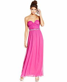 City Studios Juniors Dress, Strapless Ruched Embellished Gown