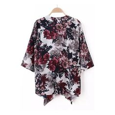 SheIn(sheinside) Multicolour Half Sleeve Floral Loose Kimono (€13) ❤ liked on Polyvore featuring tops