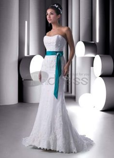 Strapless blue and white wedding dresses