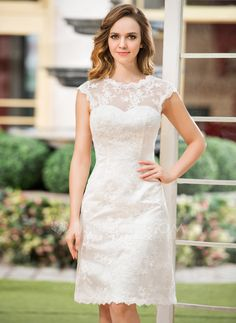 A-Line/Princess Scoop Neck Knee-Length Satin Lace Wedding Dress (002052768) - JJsHouse - very pretty!