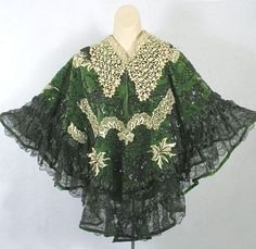 Worth beaded velvet/lace cape owned by the Countess de Pourtales, c.1900, from the Vintage Textile archives.