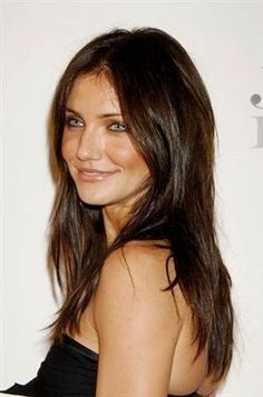 Medium length brunette, love this colour so much!! It brings out her blue eyes. Gorgeous <3
