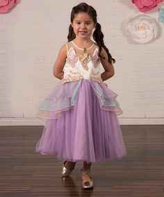 Take a look at this Lavender Unicorn Ruffle A-Line Dress - Toddler & Girls today!