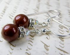 Red Pearl Earrings Christmas Red Drop Round Sterling by fineheart, $18.00