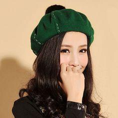 Cute Rabbit fur ball beret hat for women wool winter hats