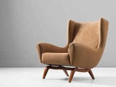 Illum Wikkelsø '110' Lounge Chair in Teak and Liver Colored Upholstery 2