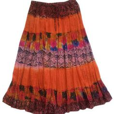 55c1082b451831 Jane Ashley NEW Fuchsia Salmon Batik Print Ombre Cotton Peasant Skirt