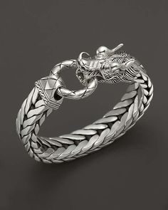 John Hardy | Men's Naga Silver Dragon Head Bracelet on Fishtail Chain #JohnHardy #bracelet