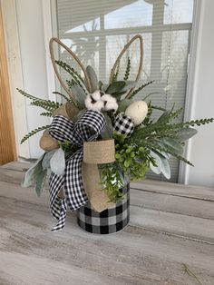 All natural Easter buffalo plaid floral arrangement. Display this adorable piece on your kitchen island, bathroom counter or a side table! arrangements for table Easter centerpiece, Buffalo plaid Easter arrangement, Easter floral arrangement, Easter Flower Arrangements, Easter Flowers, Easter Colors, Floral Arrangements, Spring Flowers, Easter Table Decorations, Easter Centerpiece, Easter Decor, Easter Ideas