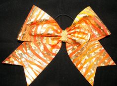 Orange Zebra Cheer Bow by Justcheerbows on Etsy, $8.00