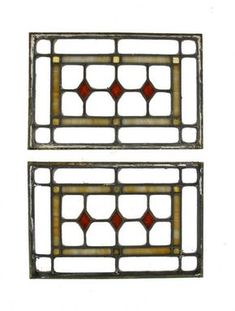set of original early 1920's american antique prairie school style chicago bungalow leaded art glass windows with diamond motif - Stained Glass Windows - Products