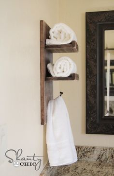 Simple DIY Towel holder by @Shanty-2-Chic.com