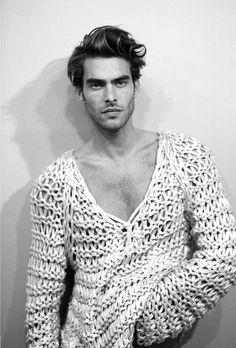 Jon Kortajarena by Juan Martin... men's deep v neck thick yarn sweater