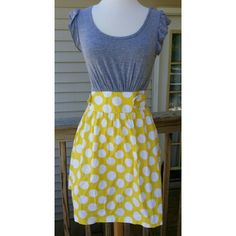 Bright dress for summer Very cute and comfortable dress. Love the bright yellow unfortunately I can't wear anymore.  Top part is 96% Rayon 4% Spandex Bottom part 97% Cotton 3% Spandex Be Bop Dresses