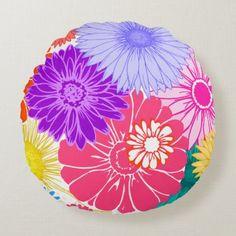 Flower Power Round Pillow