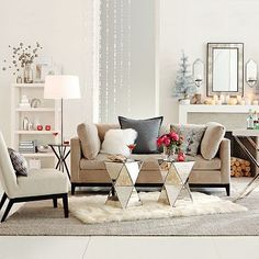 area mirror tables for living room. invest in high quality neutral furniture  add interesting statement pieces like these mirrored tables layer your rugs Magda Wargocka kochanygowek on Pinterest