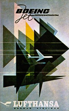 Fantastic design work, really selling the idea of progress and dynamism -- Lufthansa Travel Poster 1963. via flickr