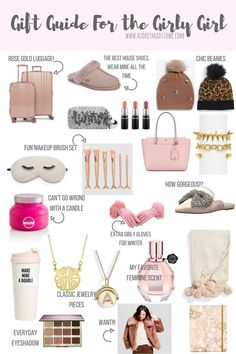Girl Gifts Gift Guide For the Girly Girl Diy Holiday Gifts, Holiday Gift Guide, Womens Christmas Gifts, Diy Gifts, Xmas Gifts, Christmas Gifts For Girlfriend, Christmas Presents, Cute Gifts, Best Gifts
