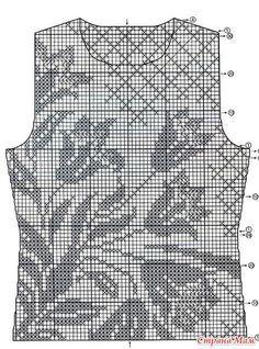 Fillet top lily (or tulips), hook - Knitting - Country Mom Débardeurs Au Crochet, Filet Crochet Charts, Fillet Crochet, Crochet Shirt, Crochet Cardigan, Thread Crochet, Crochet Stitches, Crochet Vest Pattern, Crochet Patterns