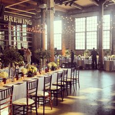 Setting up wedding flowers at the Steam Whistle Brewery @Rachelle Soucy