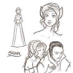 Sigyn, Loki's wife from Norse mythology. Art by LessienMoonstar on deviantart.