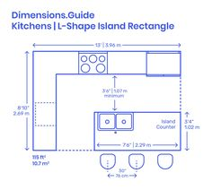 L-Shape Kitchen Islands are common kitchen layouts that use two adjacent walls, or L configuration, to efficiently array the various kitchen fixtures around a rectangular island counter. L-Shape Kitchen Islands have long lengths that range from Kitchen Island Storage, Farmhouse Kitchen Island, Modern Kitchen Island, Small Space Kitchen, Kitchen Island Lighting, Modern Kitchen Design, Kitchen Islands, Small Kitchens, Small Spaces