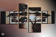 Framed 4 Panels 100% Handmade High End Sunset Wall Decoration African Tree Oil Painting on Canvas Art--S0116 on AliExpress.com. $99.00