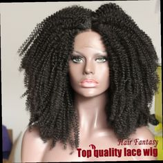 48.00$  Watch now - http://ali8zi.worldwells.pw/go.php?t=32533028292 - REAL PIC ! Heat Resistant Fiber Natural Black Color Kinky Curly Lace Front Wigs for Black Women top quality Lace Front Wigs 48.00$