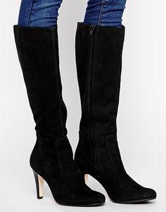 Buffalo Knee High Suede Heeled Boots