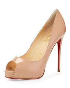 New Very Prive Patent Red Sole Pump, Nude by Christian Louboutin at Neiman Marcus.
