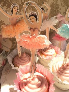 Darling Dancers. Twelve Vintage Style Ballerina Doll Toppers with Ruffled Tutus