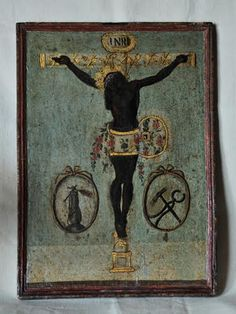 A wonderful antique painting of the popular religious icon: the Black Christ/Cristo Negro of Guatemala Bible Crafts, Bible Art, Religious Icons, Religious Art, Church Altar Decorations, Colonial Art, Black Jesus, The Cross Of Christ, Antique Paint