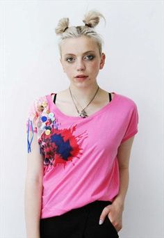 3487019267b1b Red pink Button grunge holiday slouchy crop top from Pretty Disturbia £6  Bold Colors